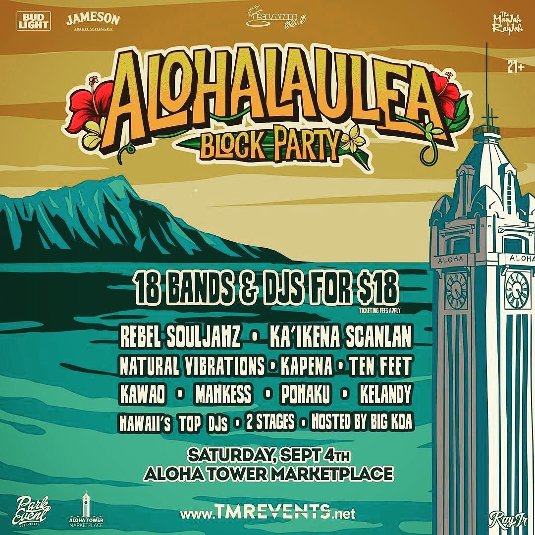 @tmrevents ALOHALAULEA 2021 ON SALE NOW! 18 Bands & DJs for $18. September 4 at Aloha Tower Marketplace. Limited VIP tickets avail at www.TMREVENTS.net - from Instagram