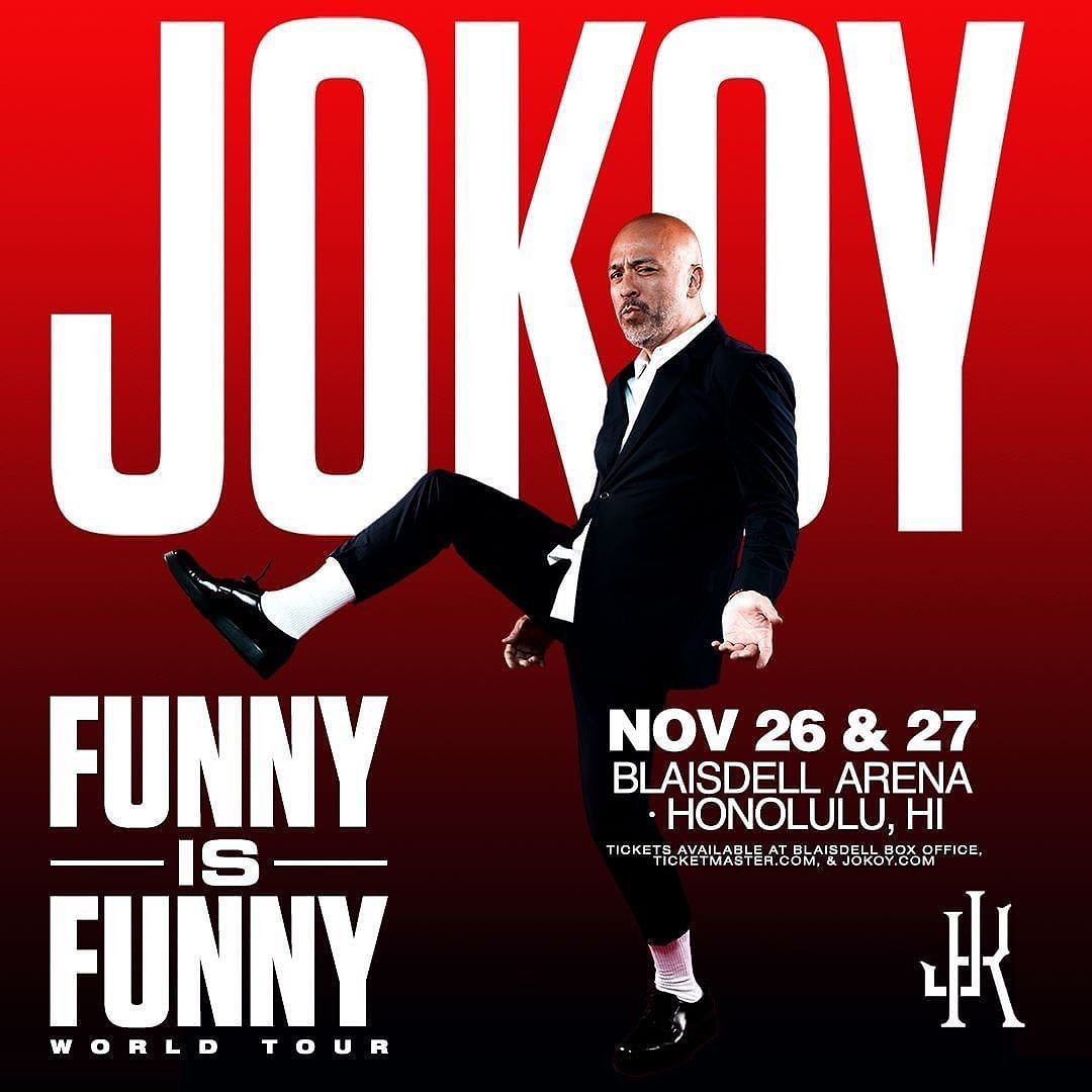 HONOLULU Comedian Jo Koy is returning to Hawaii in November for his Funny Is Funny World Tour. He will be performing at the Blaisdell Arena on Nov. 26 and 27 at 8 p.m.When KHON2 interviewed Koy before the pandemic hit, he said there are two things he loves about being back in the islands: Joe Moore and the people of Hawaii. Blaisdell subscribers get priority access to the best tickets for this year's shows on Thursday, Aug. 19, at 6 a.m. with code COMEDY. The pre-sale offer runs from 6 a.m. to 10 a.m. HST (online only). Ticket prices are listed at $86.50, $66.50, and $56.50 plus service fees.Tickets go on sale to the public on Thursday, Aug. 19, at 10 a.m. HST online and at the Blaisdell box office. There is no code needed after it goes on sale to the public. - from Instagram